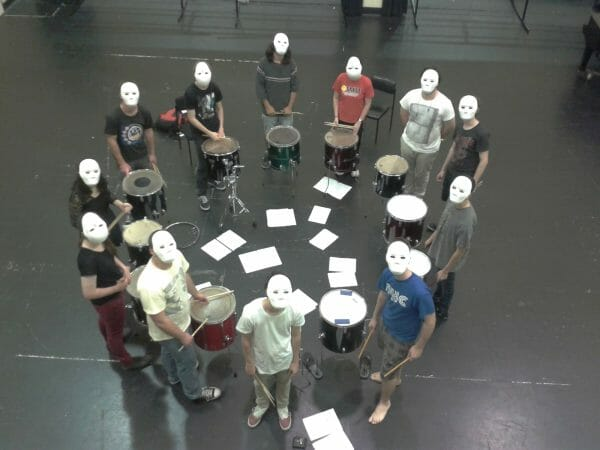 Paint drumming rehearsal