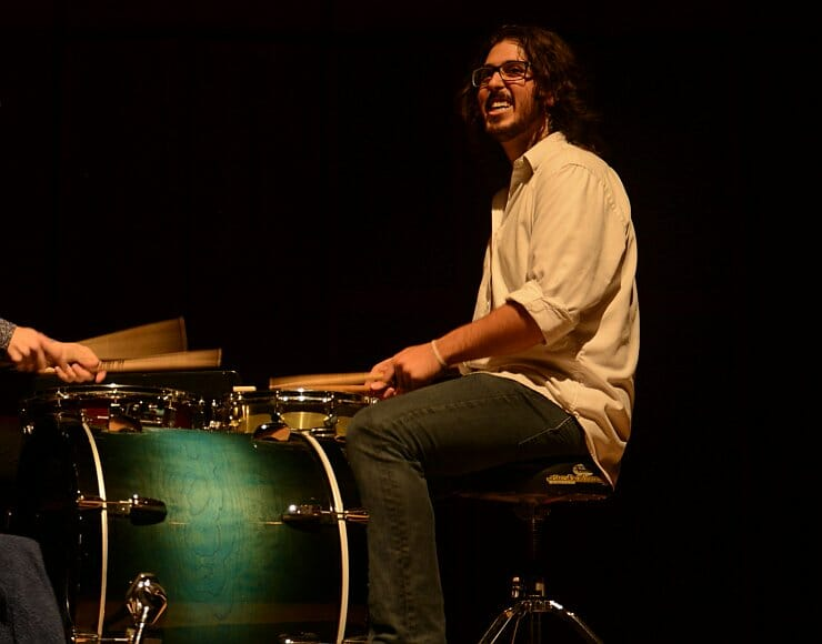 Tsoof playing snare drum