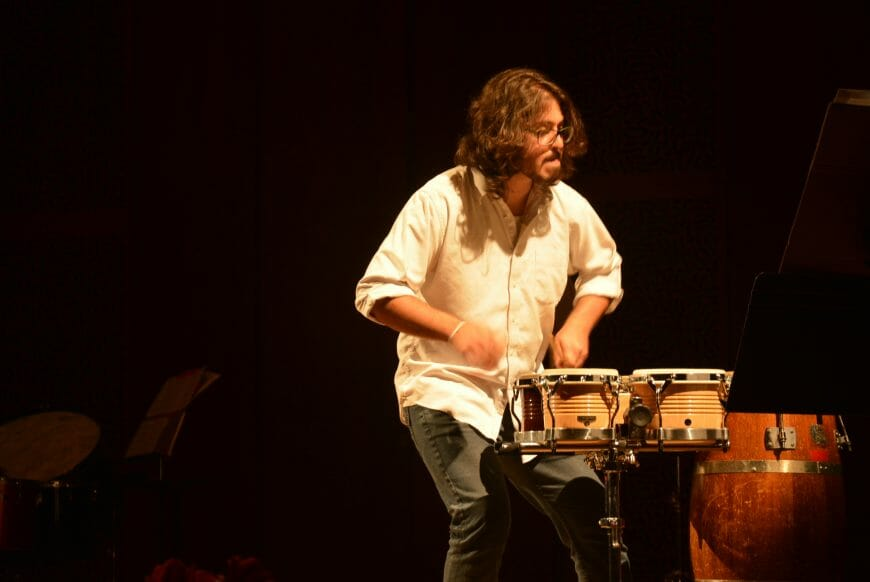 Tsoof playing multi percussion solo XY by Michael Gordon
